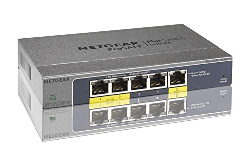 Netgear GS105PE-10000S 5 Port ProSAFE Smart Managed Plus Pass-through Gigabit Switch (2 x PoE PD 19W) Powered Splitter