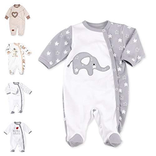 Baby Sweets - Pelele unisex para bebé, diseño de elefante, color blanco y gris gris blanco gris Talla:9 Monate (74)