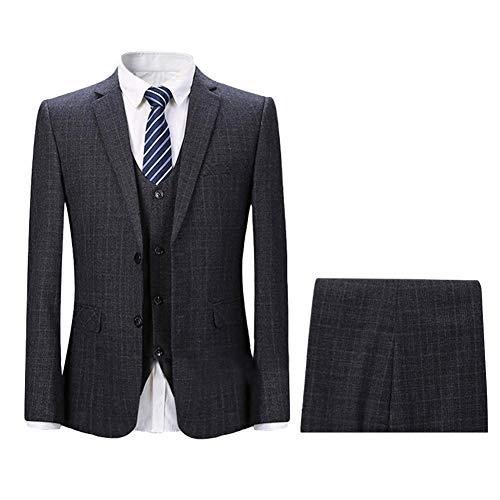 YOUTHUP Herren Anzug kariert 3 Teilig Retro Vintage Design Anzugjacke Weste Anzughose Slim Fit (XL, Dunkel Grau(2 Knopf))
