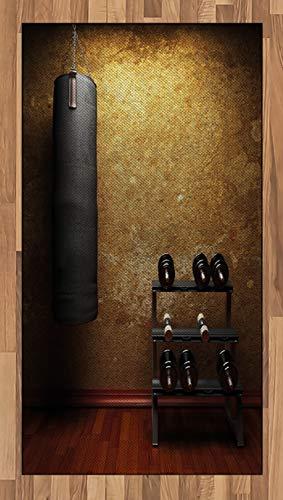 Abakuhaus Fitness Teppich, Fitnessraum und Hanteln, Deko-Teppich Digitaldruck, Färben mit langfristigen Halt, 80 x 150 cm, Hellbraun Redwood Schwarz