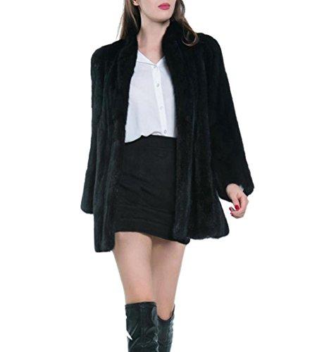 Faux Fur Mantel ✽ZEZKT✽Damen WarmeWinterjackeKunstpelz Faux Pelz Mantel Outwear Parka Fur Jacke (S, Schwarz) (Pelz-bomber Faux)