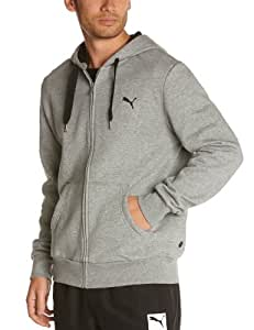 Puma Men's Hooded Sweat Jacket - Medium Grey Heather, Small