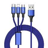 Computerleitung Multi-Ladegerät Kabel, 3 in 1 Multiple Nylon geflochten 3A Ladekabel, USB Typ C zu Lightning / Micro / Typ-C Kabel-Kabel-Adapter für Samsung, iPhone, iPad, Micro und Typ-c Handys