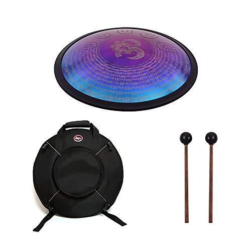 Muslady Hand Pan Drum UU Drum 18 pollici D-Minor Lega Steel Tongue Drum 11 doppio tono Tongues Strumento a percussione con Borsa per batteria