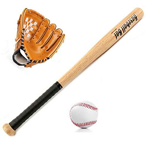 Seasaleshop Baseball-Set Kinder inkl Baseball-Schläger Holz, Baseball-Handschuh & Baseball-Ball
