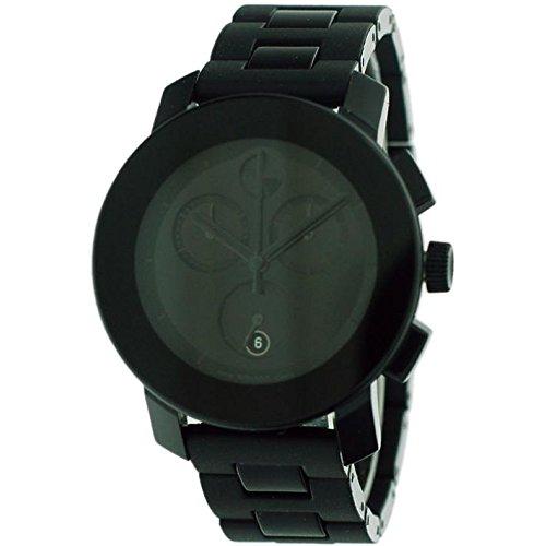 MOVADO UNISEX 38MM BLACK STEEL BRACELET & CASE SWISS QUARTZ WATCH 3600056