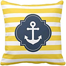 feel-r azul blanco y amarillo ancla náutica rayas funda de almohada decorativa almohada manta almohada Funda de cojín almohada 18en