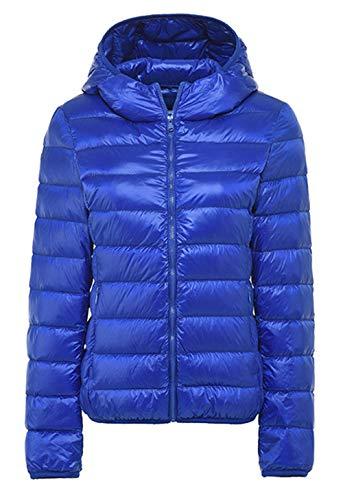 cxzas852 Herbst und Winter Frauen Kapuze leichte Daunenjacke Frauen Kurze einfarbige echte warme Mode Jacke mit Langen Ärmeln