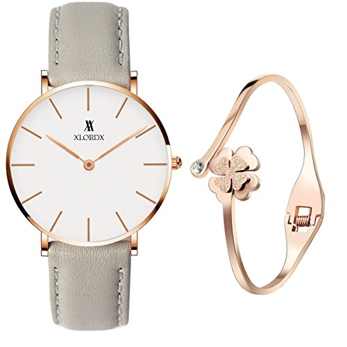 XLORDX Classic Damen Armbanduhr Analog Quarz Grau Leder Weiß mit Rosegold Armband