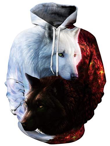 Ocean Plus Jungen 3D Kapuzenpullover Spaß Sweatshirt Hoodie mit Kängurutasche Sportlich Digitaldruck Pullover mit Kapuze (S/M (Erwachsenengröße: 155-170cm), Engel und Teufel Wölfe)