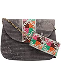 TARUSA Slate Grey Cotton Printed Sling Bag For Women