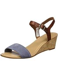 Timberland Damen Sibbern Y-Strap Sandalfolkstone Grey Suede W/Barn Eastlook Offene Sandalen mit Keilabsatz