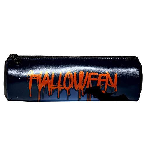 n aus Leder, Halloween, Mondlicht, Wolf Fledermäppchen, Münztasche, Kosmetiktasche, Make-up-Tasche für Schule, Arbeit, Büro ()