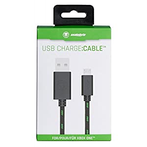 snakebyte Xbox One Micro USB CHARGE:CABLE – schwarz/grün – für sämtliche Xbox One Controller – Kabel PS4 & Xbox One kompatibel – 3m Meshcable