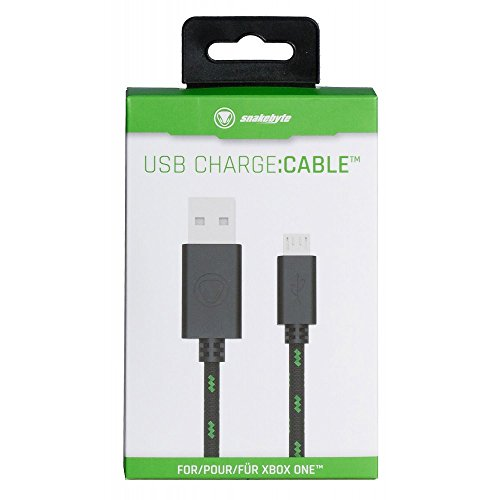 snakebyte Xbox One Micro USB CHARGE:CABLE - schwarz/grün - für sämtliche Xbox One Controller - Kabel PS4 & Xbox One kompatibel - 3m Meshcable