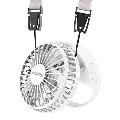 HandFan Tragbarer Halskette Lüfter Handventilator Mini-Handheld-USB Persönlicher Ventilator mit Magnetschalter/Freisprecheinrichtung/starker Luftstrom & 3-Gang-Modus für Home Travel Camping Hals-gang