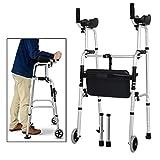 WALKER Passeggino, Camminando Mobility Aid Alluminio Pieghevole Camminatore a Ruote con Sedile e bracciolo Arto Inferiore Allenatore
