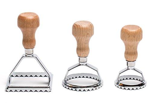 Ravioli-Ausstecher Set | 3 wunderschöne Ravioli-Stempel | Ravioli-Former mit Holzgriff | formen Sie Ihre eigenen leckeren Ravioli, Maultaschen oder Plätzchen und Kekse | Raviolischneider von Casparo Design