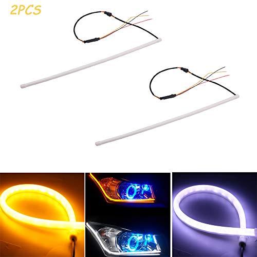UNHO 2PCS Luces de Circulación Diurna Universal y Impermeable Tiras de Luces LED DRL 12V 6W Tubos Flexibles de Señal de Giro Faro Delantero 60cm
