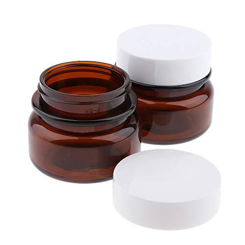 Homyl 2pcs 50g Pot Vide Rond en Plastique avec Couvercle Bouteille de Maquillage Cosmetic Container Rangement Produits de Beauté pour Voyage