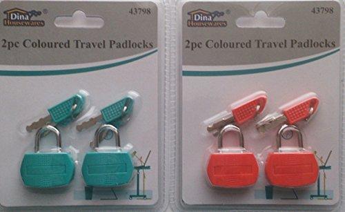 4farbige Travel Vorhängeschlösser (Gepäck Aktentasche Kleine Öffnen)