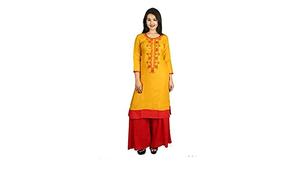b442e51db50 Snapdeal Women s Kurti Cotton s casual fromal Ethnic full stitched Round  Neck Knee-Long (D-12-KURTI-YELLOW)  Amazon.in  Clothing   Accessories