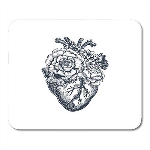 Tattoo-lynx (Gaming Mauspad Red Engraving Tattoo Anatomy Vintage Floral Anatomical Heart Love Bar Barber Biology 11.8