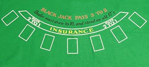 tappeto JUSTSHOPPING Gioco Black Jack Blakjack Verde Feltro Riutilizzabile E Lavabile