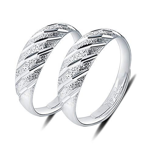 Blisfille Ringe Damen Weissgold Herren Ringe 925 Silber 999 Sterling Silber Open Ringe Matt Streifen Ringe Solitärring Silberringe Damenringe Silber Gr. 57 (18.1) - Französisch-streifen-kissen