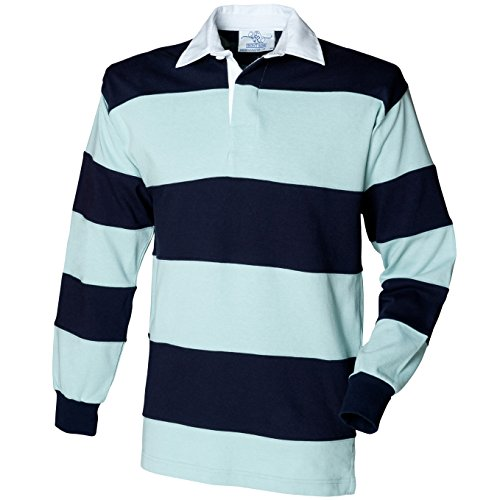 Traditionelle Rugby-shirts (Front Row Hooped Long Sleeve Rugby Shirt in Duck Egg/Navy S)