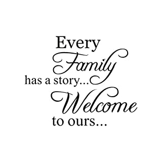 erthome Every Family Has A Story Welcome to Ours Removable Art Vinyl Mural Home Room Decor Wall Stickers
