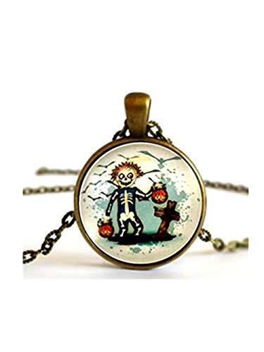 JUN Skull Totenkopf Skelett Boy Kostüm, Trick or Treat, Kürbisse, Halskette Anhänger Oder Brosche Pin