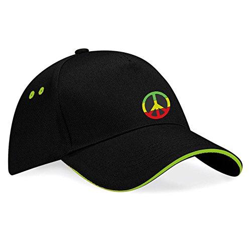 Peace Frieden Jamaika Reggae Rules Bestickte Baseball Cap Mütze -k59 (Sw-Grün) (Jamaika Baseball)
