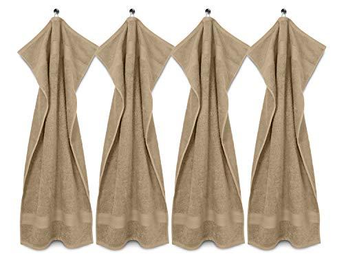 npluseins Packs zum Sparpreis - solide Frottiertücher - erhältlich in 20 modernen Farben und 8 verschiedenen Größen, 4er Pack Handtücher (50 x 100 cm), sand