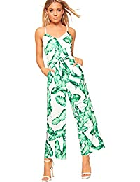 ddcb6f247e7 WearAll Women s Floral Belted Strappy Sleeveless Jumpsuit Ladies Wide Leg  Trousers Pants 8-14