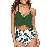 LEXUPE Damen Zwei StüCke BadeanzüGe Top GekräUselt Mit Hoch Taillierten Bottom Bikini Set Geschenk(Grün,X-Large)
