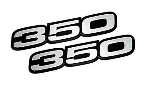 2x (pair/set) VMS Racing 350 SILVER on BLACK Highly Polished Aluminum EMBLEMS