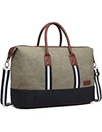 262f7c9f2b Kono Overnight Bag Canvas Weekend Travel Duffel Tote Bag Large Light Weight Shoulder  handbags(6836