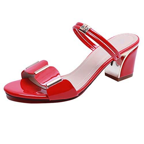 Sandalen Damen, Lässige Outdoor Hausschuhe 2019 Sommer Party Schuhe Square Heels Zehentrenner (rot,40 EU Square Heel