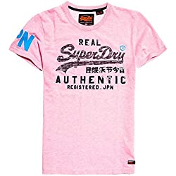 Superdry Vintage Authentic Pastel Lite T-Shirt, Rose Pink Marl MRQ, XL Homme