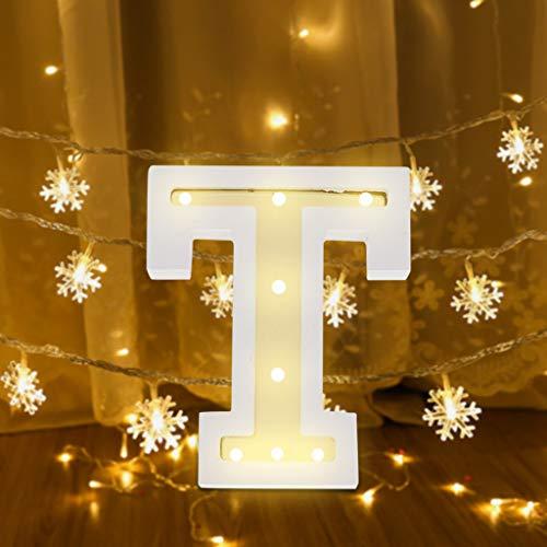 FeiliandaJJ A~Z Brief Nachtlicht Batterie Romantisch LED Licht Nachtlampe LED Dekoration für Heiratsantrag Volkstrauertag Schlafzimmer Party Haus Dekor Nachtleuchte (T)