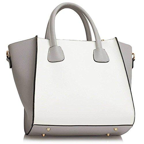 TrendStar Damen Designer Handtaschen Damen Schultertasche Neue Kunstleder Berühmtenart Mode Tote Große (Schwarz/Nude) B - Grau/Weiß