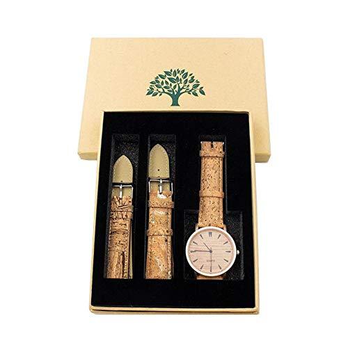 Naturkork-Uhr mit Uhrenarmband, handgefertigt vegan Hochwertige, umweltfreundliche, Wasserdichte Wachssubstanz 100% Kork Nachhaltiges Damenkork-Uhrenarmband WA-108-BOX - (eCorcho) (Gurt Weste Feine Frauen)