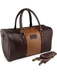 18e93ab2139e AirCase C51 Unisex Vegan 20 Litre Leather Duffle Shoulder Travel Bag (Brown)
