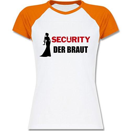 JGA Junggesellinnenabschied - Security der Braut - zweifarbiges Baseballshirt / Raglan T-Shirt für Damen Weiß/Orange