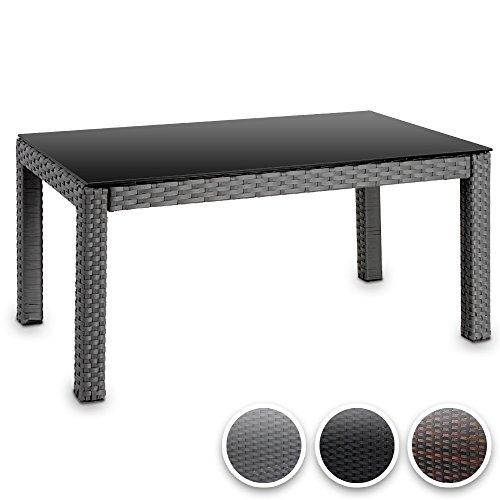 Miadomodo - Table basse - gris - en résine tressée - plateau en verre : 80 x 45 cm - hauteur : 38 cm - DIVERSES COULEURS AU CHOIX