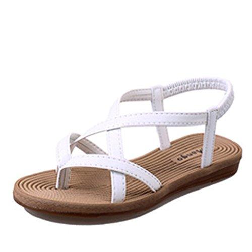 Gaorui Sommer Damen Mädchen T-Strap Sandalen Gladiator Zehentrenner mit Strass Strandschuhe 619 Weiß