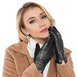 Chanvi; Touchscreen Handschuhe Outdoor Sport Damen Winddicht und Smartphone Handschuhe für Radfahren, Motorradfahren, Wandern und andere Outdoor-Aktivitäten (Leder) (Schwarz)
