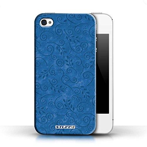 KOBALT® Hülle Case für Apple iPhone 4/4S | Türkis Entwurf | Blatt-Strudel-Muster Kollektion Blau