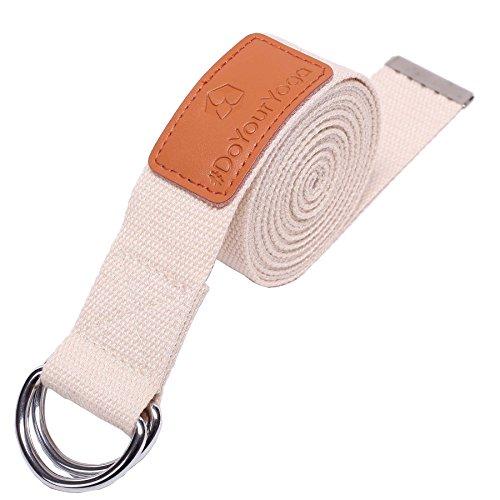 Sangle de yoga »Mathadi« / ceinture de yoga avec anneau de fermeture métallique stable / 300x 3,8 / beige
